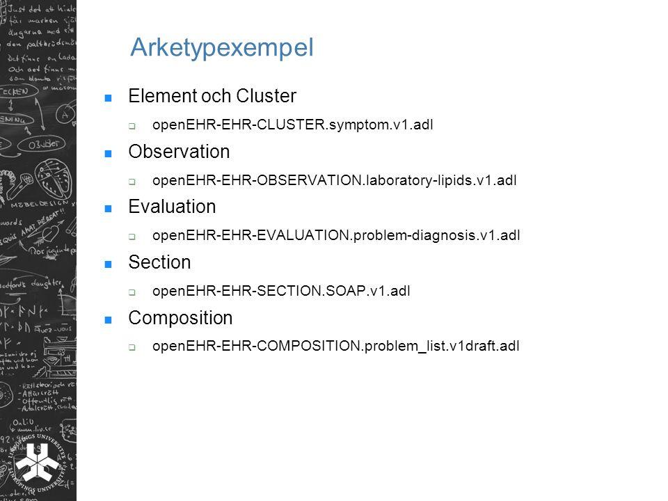 Arketypexempel Element och Cluster  openEHR-EHR-CLUSTER.symptom.v1.adl Observation  openEHR-EHR-OBSERVATION.laboratory-lipids.v1.adl Evaluation  op