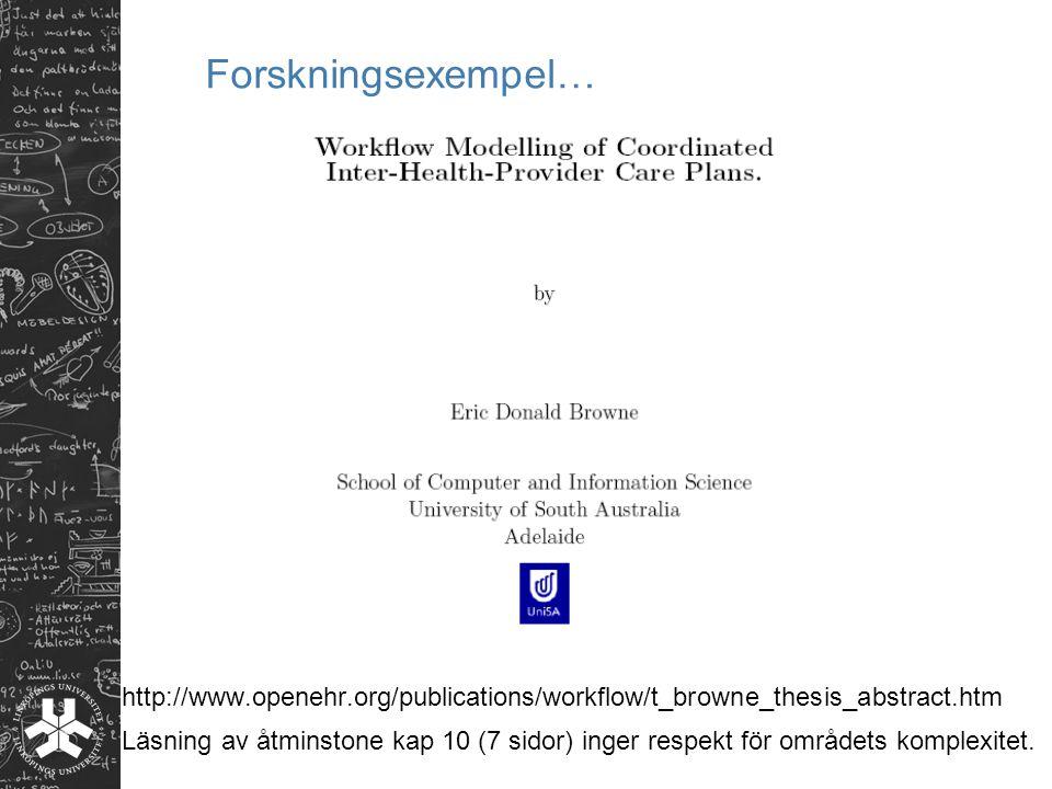 Forskningsexempel… http://www.openehr.org/publications/workflow/t_browne_thesis_abstract.htm Läsning av åtminstone kap 10 (7 sidor) inger respekt för