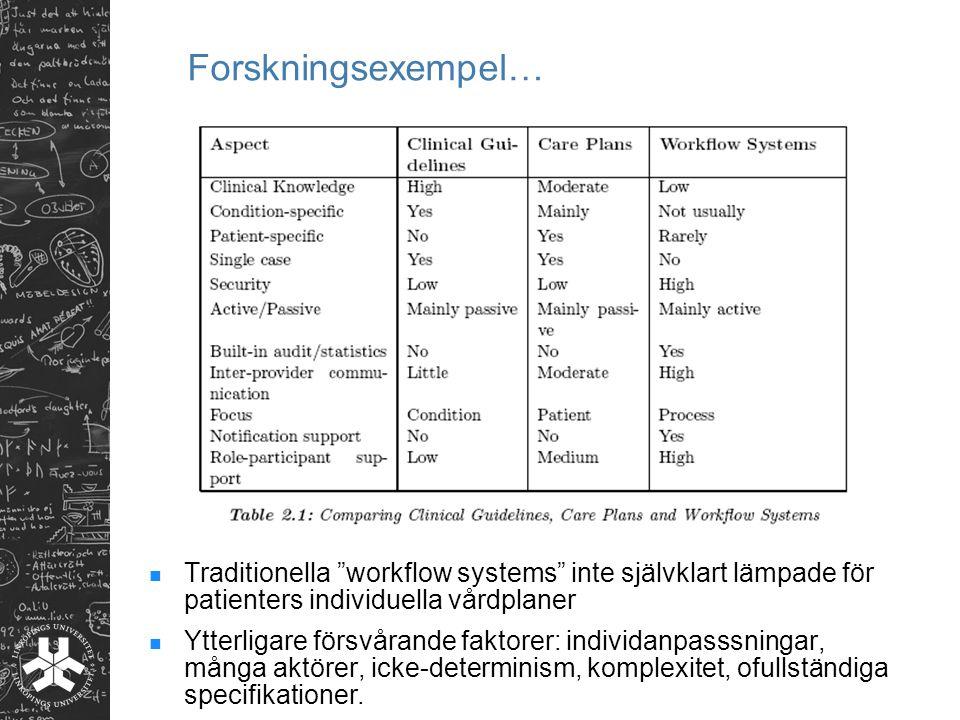 """Traditionella """"workflow systems"""" inte självklart lämpade för patienters individuella vårdplaner Ytterligare försvårande faktorer: individanpasssningar"""