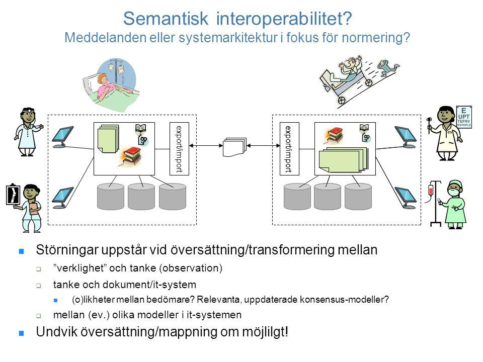 """Semantisk interoperabilitet? Meddelanden eller systemarkitektur i fokus för normering? Störningar uppstår vid översättning/transformering mellan  """"ve"""