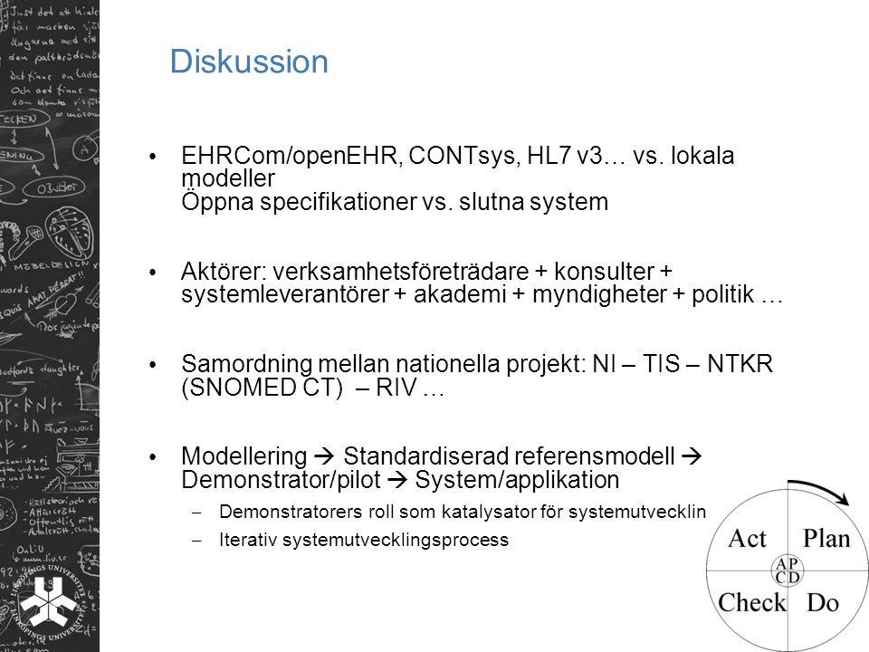 Diskussion EHRCom/openEHR, CONTsys, HL7 v3… vs. lokala modeller Öppna specifikationer vs. slutna system Aktörer: verksamhetsföreträdare + konsulter +