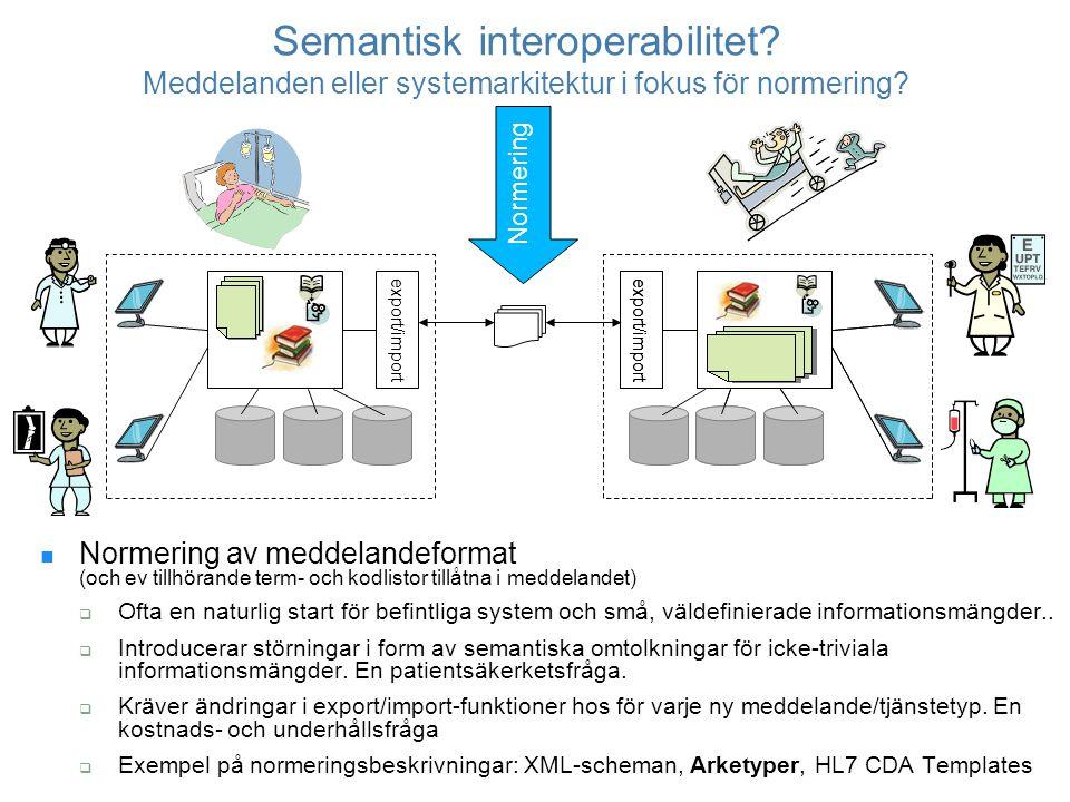 Omtolkningsproblem Olika semantisk struktur System AMeddelande (normerat?)System B Fem fältTre fältFyra fält Exempel från Östergötland: sju olika sätt att dokumentera läkemedelsöverkänslighet Många interoperabilitetsproblem kan ej lösas med en algoritm (t.ex.