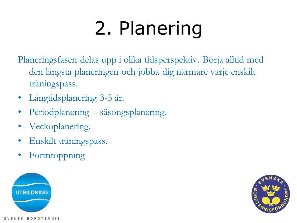 2. Planering Planeringsfasen delas upp i olika tidsperspektiv. Börja alltid med den längsta planeringen och jobba dig närmare varje enskilt träningspa