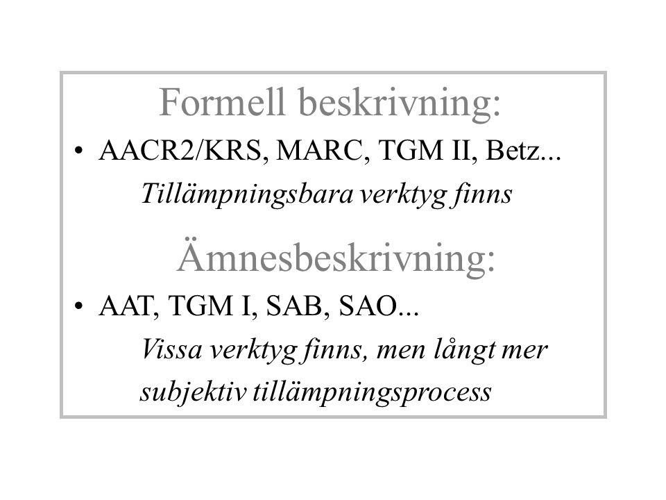 Formell beskrivning: AACR2/KRS, MARC, TGM II, Betz... Tillämpningsbara verktyg finns Ämnesbeskrivning: AAT, TGM I, SAB, SAO... Vissa verktyg finns, me