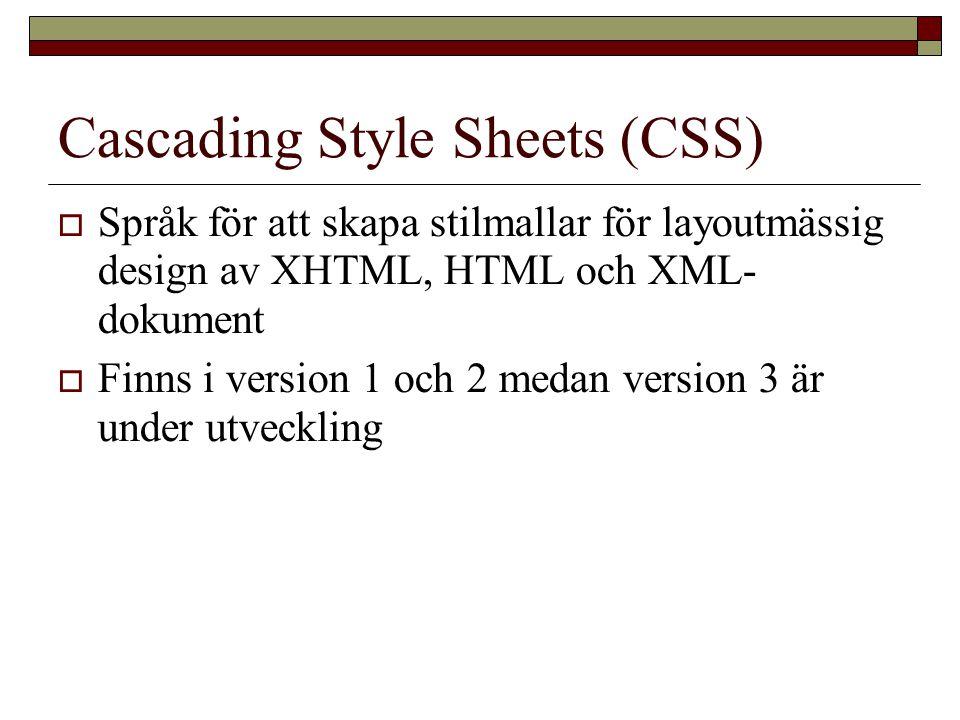 Cascading Style Sheets (CSS)  Språk för att skapa stilmallar för layoutmässig design av XHTML, HTML och XML- dokument  Finns i version 1 och 2 medan version 3 är under utveckling