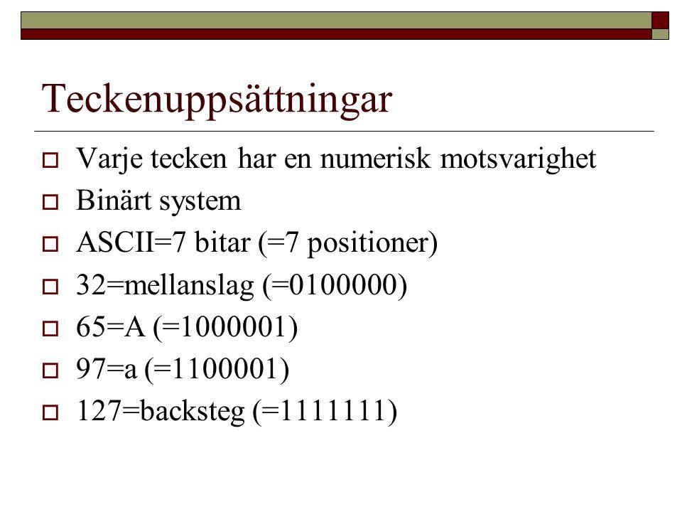 Teckenuppsättningar  Varje tecken har en numerisk motsvarighet  Binärt system  ASCII=7 bitar (=7 positioner)  32=mellanslag (=0100000)  65=A (=1000001)  97=a (=1100001)  127=backsteg (=1111111)