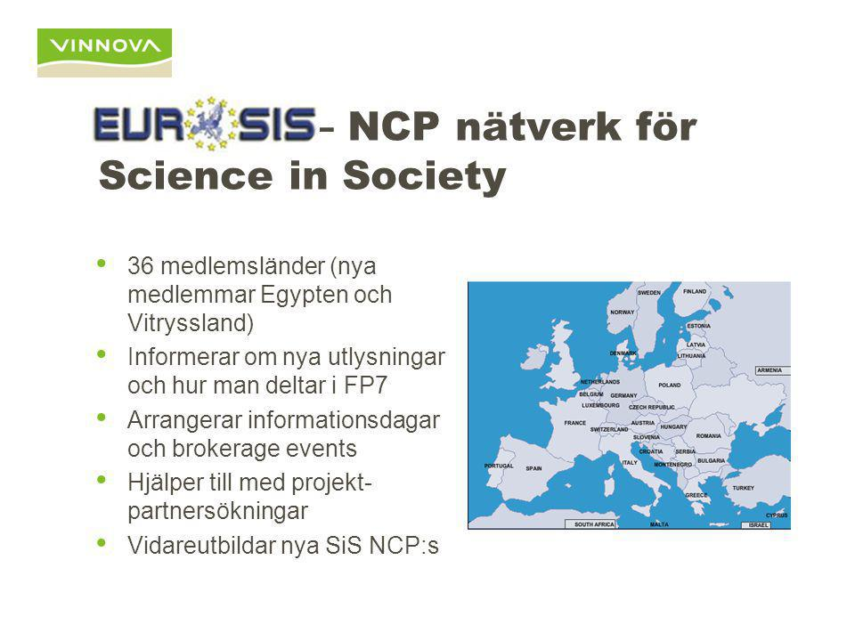 EUROSIS – NCP nätverk för Science in Society 36 medlemsländer (nya medlemmar Egypten och Vitryssland) Informerar om nya utlysningar och hur man deltar