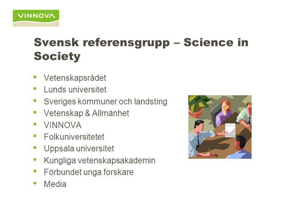 Svensk referensgrupp – Science in Society Vetenskapsrådet Lunds universitet Sveriges kommuner och landsting Vetenskap & Allmänhet VINNOVA Folkuniversi