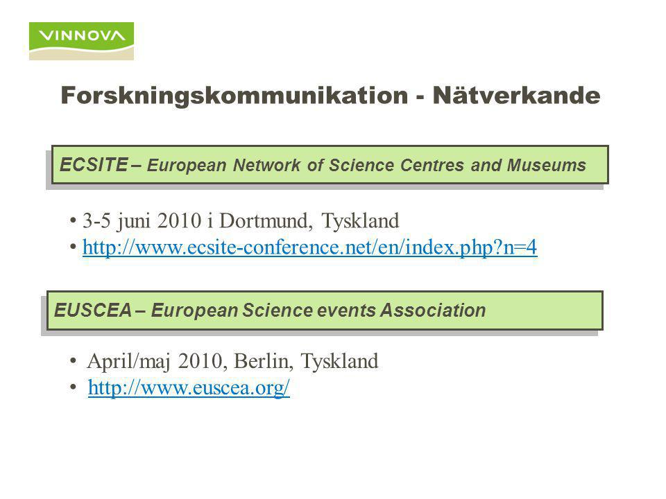 Forskningskommunikation - Nätverkande ECSITE – European Network of Science Centres and Museums EUSCEA – European Science events Association April/maj