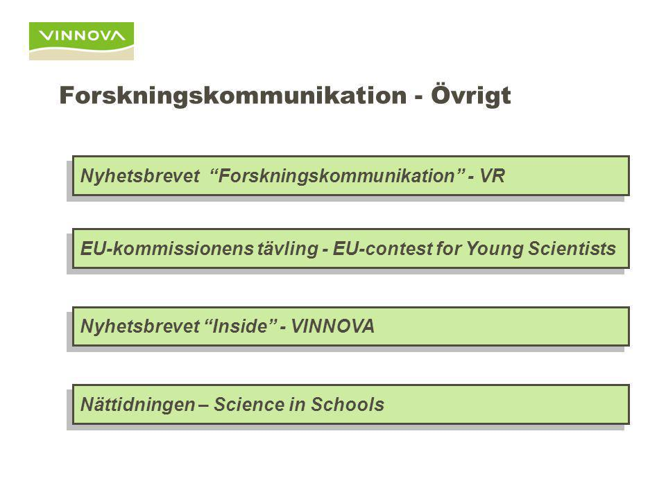 Forskningskommunikation - Övrigt Nyhetsbrevet Inside - VINNOVA Nyhetsbrevet Forskningskommunikation - VR EU-kommissionens tävling - EU-contest for Young Scientists Nättidningen – Science in Schools