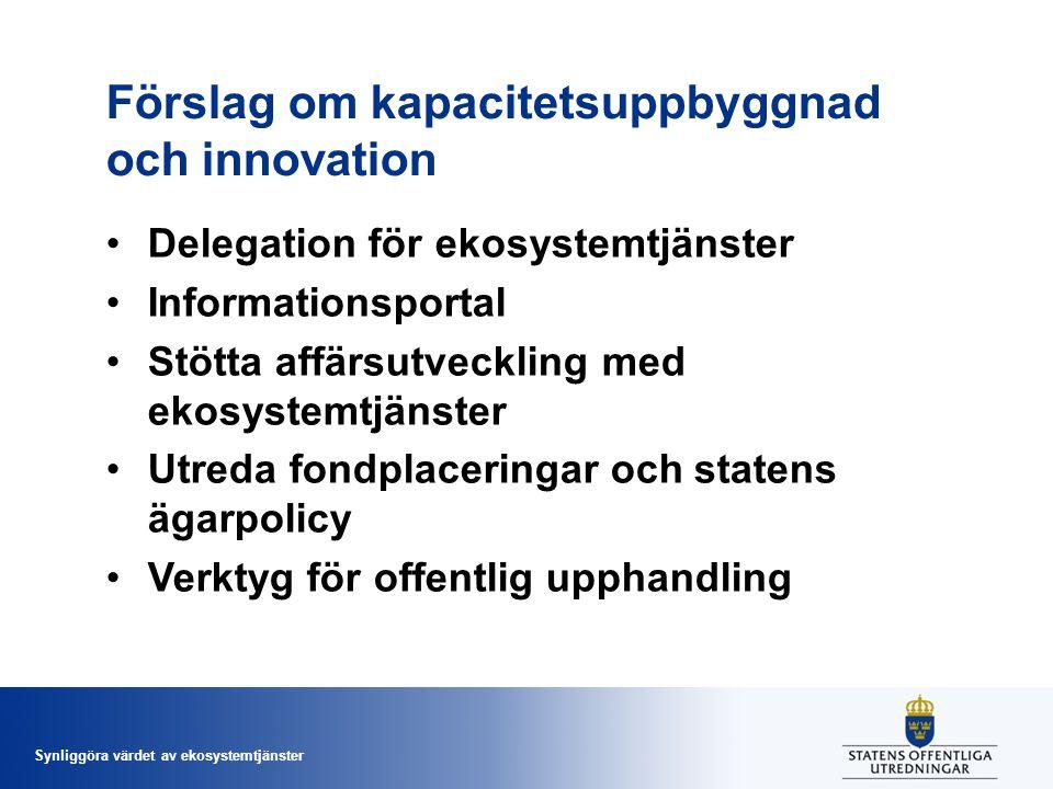 Synliggöra värdet av ekosystemtjänster Förslag om kapacitetsuppbyggnad och innovation Delegation för ekosystemtjänster Informationsportal Stötta affär