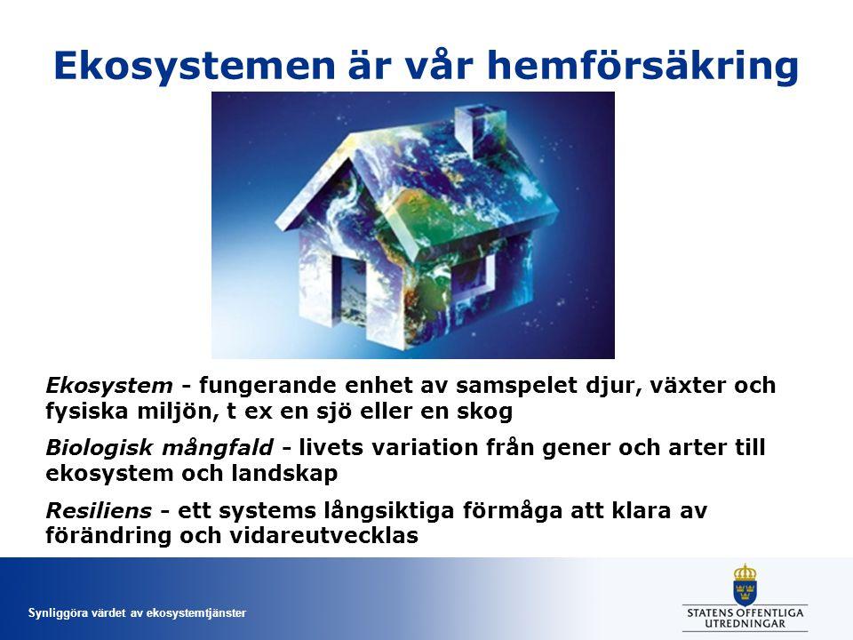 Synliggöra värdet av ekosystemtjänster Ekosystemen är vår hemförsäkring Ekosystem - fungerande enhet av samspelet djur, växter och fysiska miljön, t e