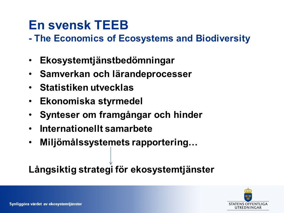 Synliggöra värdet av ekosystemtjänster En svensk TEEB - The Economics of Ecosystems and Biodiversity Ekosystemtjänstbedömningar Samverkan och lärandep