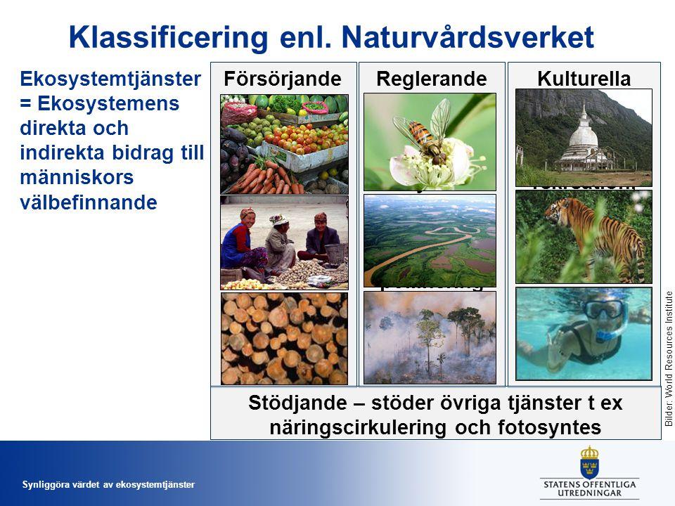 Synliggöra värdet av ekosystemtjänster Klassificering enl. Naturvårdsverket Ekosystemtjänster = Ekosystemens direkta och indirekta bidrag till människ