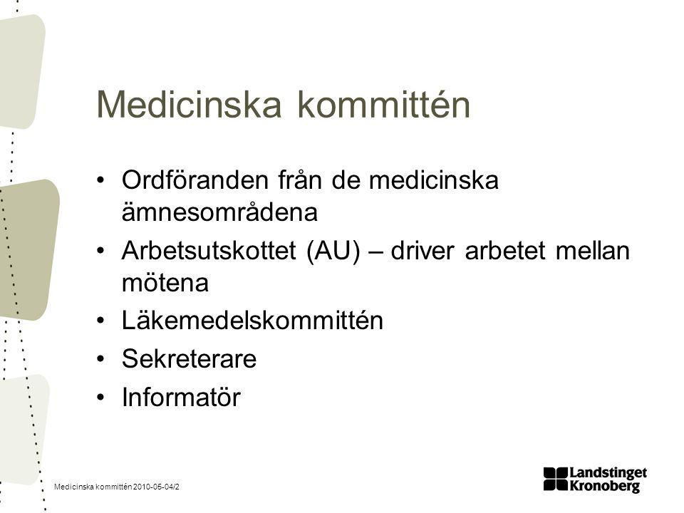 Medicinska kommittén 2010-05-04/2 Medicinska kommittén Ordföranden från de medicinska ämnesområdena Arbetsutskottet (AU) – driver arbetet mellan möten