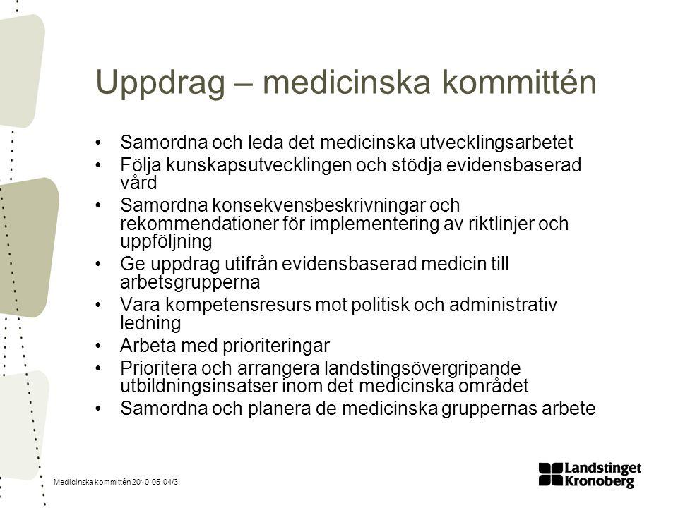 Medicinska kommittén 2010-05-04/3 Uppdrag – medicinska kommittén Samordna och leda det medicinska utvecklingsarbetet Följa kunskapsutvecklingen och st