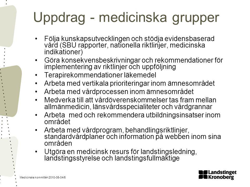 Medicinska kommittén 2010-05-04/5 Uppdrag - medicinska grupper Följa kunskapsutvecklingen och stödja evidensbaserad vård (SBU rapporter, nationella ri