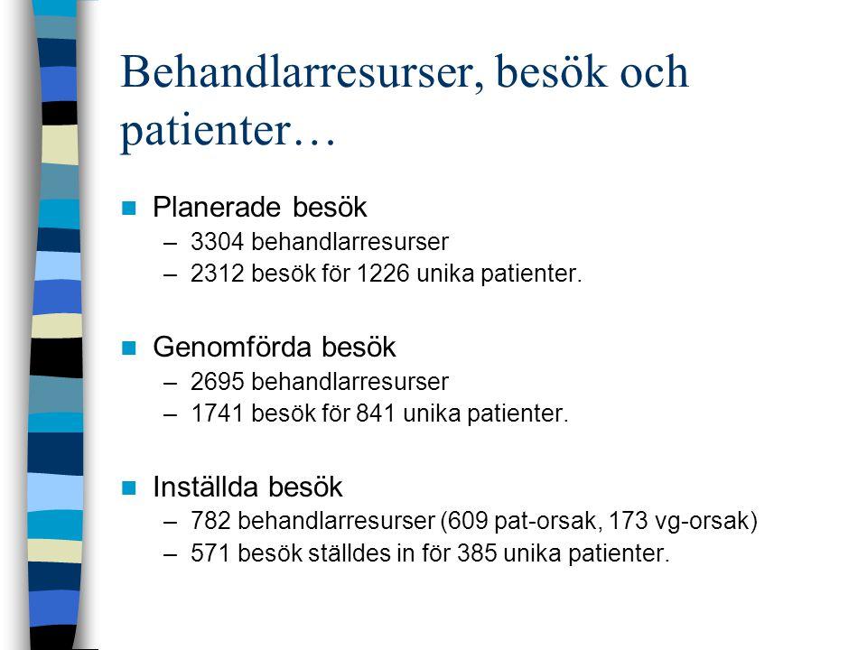 Behandlarresurser, besök och patienter… Planerade besök –3304 behandlarresurser –2312 besök för 1226 unika patienter.