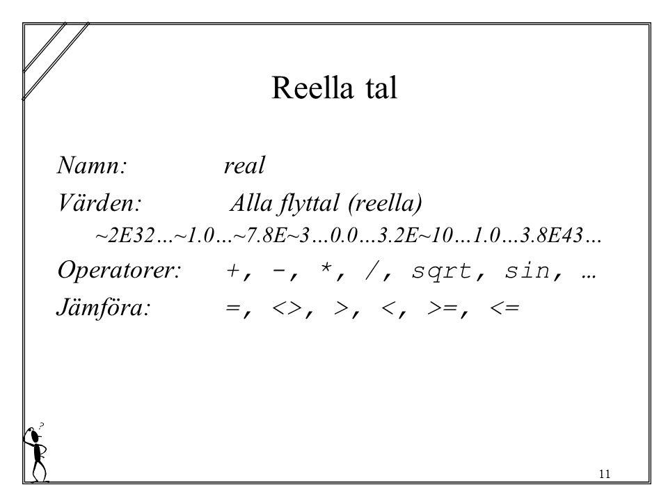 11 Reella tal Namn:real Värden: Alla flyttal (reella) ~2E32…~1.0…~7.8E~3…0.0…3.2E~10…1.0…3.8E43… Operatorer: +, -, *, /, sqrt, sin, … Jämföra: =, <>, >, =, <=