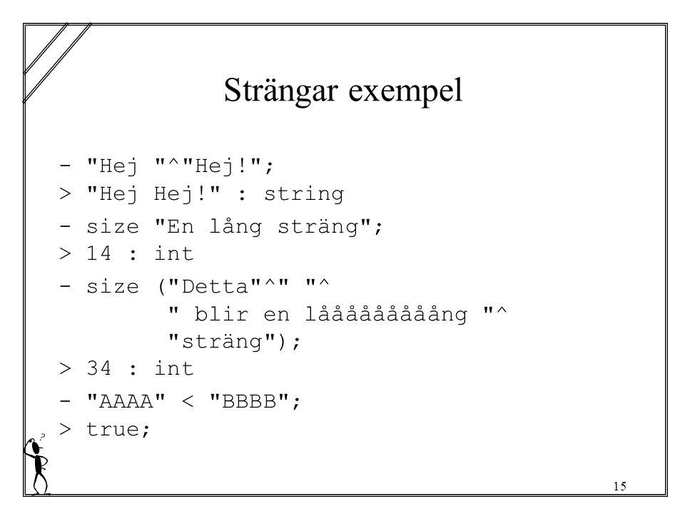 15 Strängar exempel - Hej ^ Hej! ; > Hej Hej! : string - size En lång sträng ; > 14 : int - size ( Detta ^ ^ blir en lååååååååång ^ sträng ); > 34 : int - AAAA true;