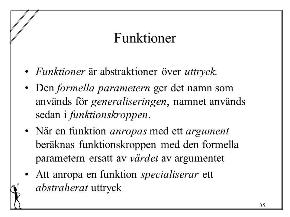35 Funktioner Funktioner är abstraktioner över uttryck.