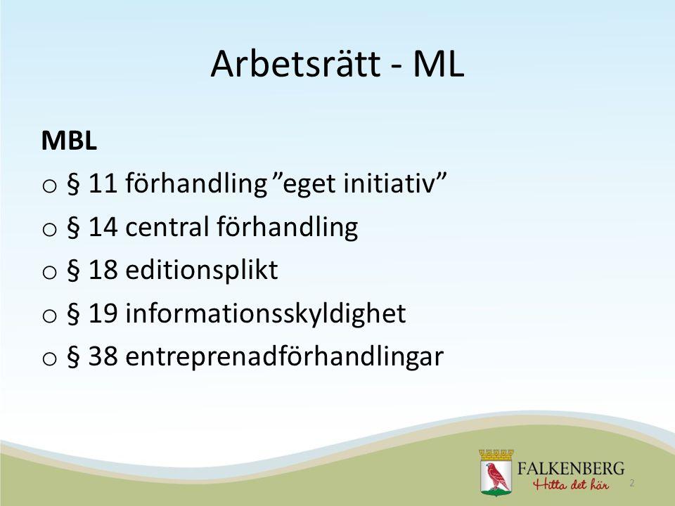 Arbetsrätt - ML MBL o § 11 förhandling eget initiativ o § 14 central förhandling o § 18 editionsplikt o § 19 informationsskyldighet o § 38 entreprenadförhandlingar 2