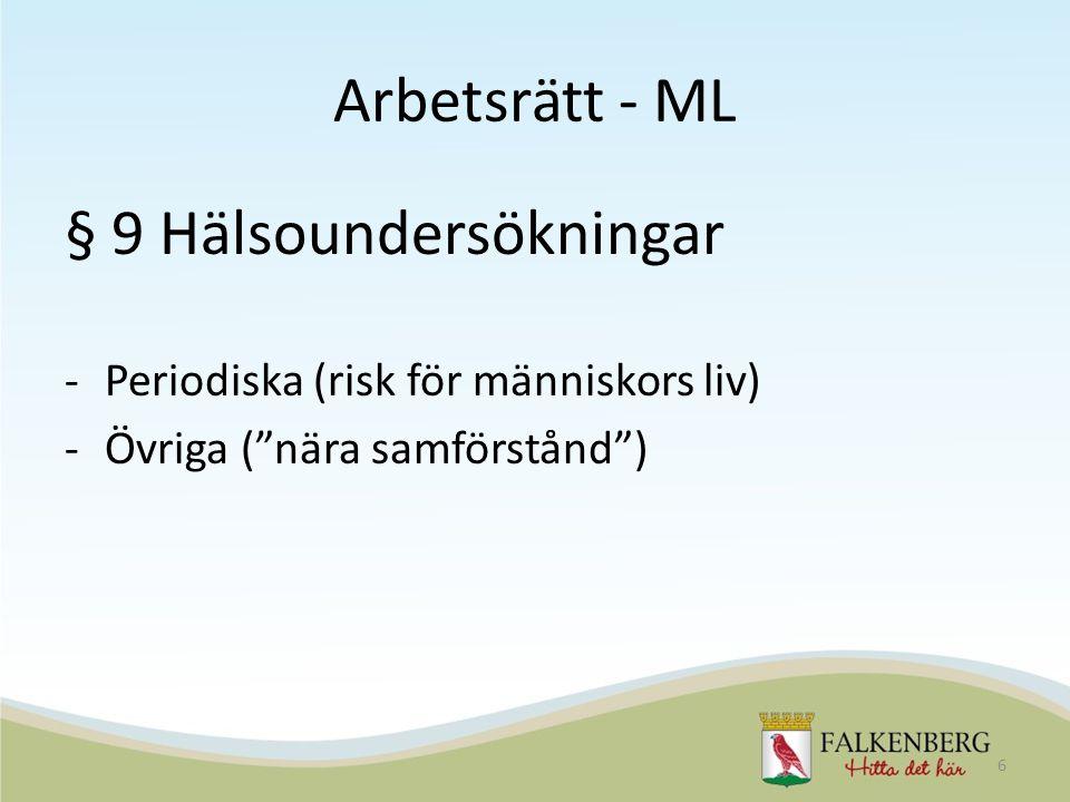 Arbetsrätt - ML § 9 Hälsoundersökningar -Periodiska (risk för människors liv) -Övriga ( nära samförstånd ) 6