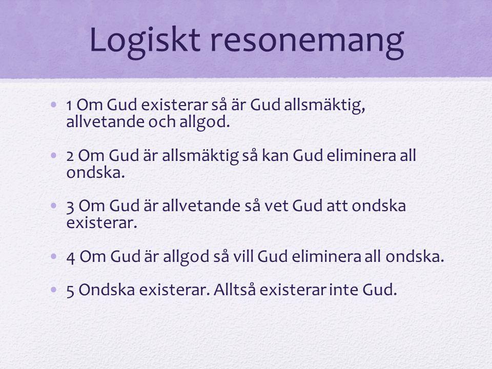 Logiskt resonemang 1 Om Gud existerar så är Gud allsmäktig, allvetande och allgod. 2 Om Gud är allsmäktig så kan Gud eliminera all ondska. 3 Om Gud är