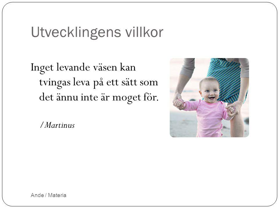 Utvecklingens villkor Inget levande väsen kan tvingas leva på ett sätt som det ännu inte är moget för. /Martinus Ande / Materia