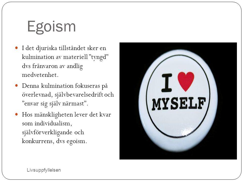 """Egoism I det djuriska tillståndet sker en kulmination av materiell """"tyngd"""" dvs frånvaron av andlig medvetenhet. Denna kulmination fokuseras på överlev"""