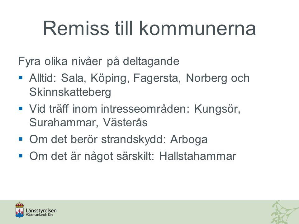 Remiss till kommunerna Fyra olika nivåer på deltagande  Alltid: Sala, Köping, Fagersta, Norberg och Skinnskatteberg  Vid träff inom intresseområden: