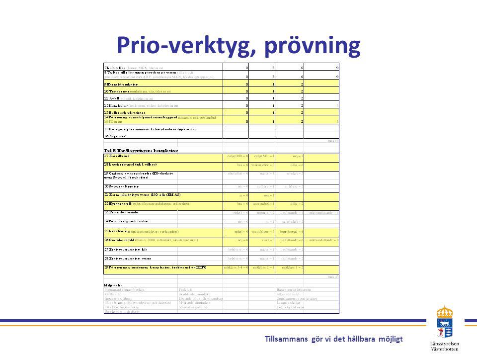 Tillsammans gör vi det hållbara möjligt Prio-verktyg, prövning