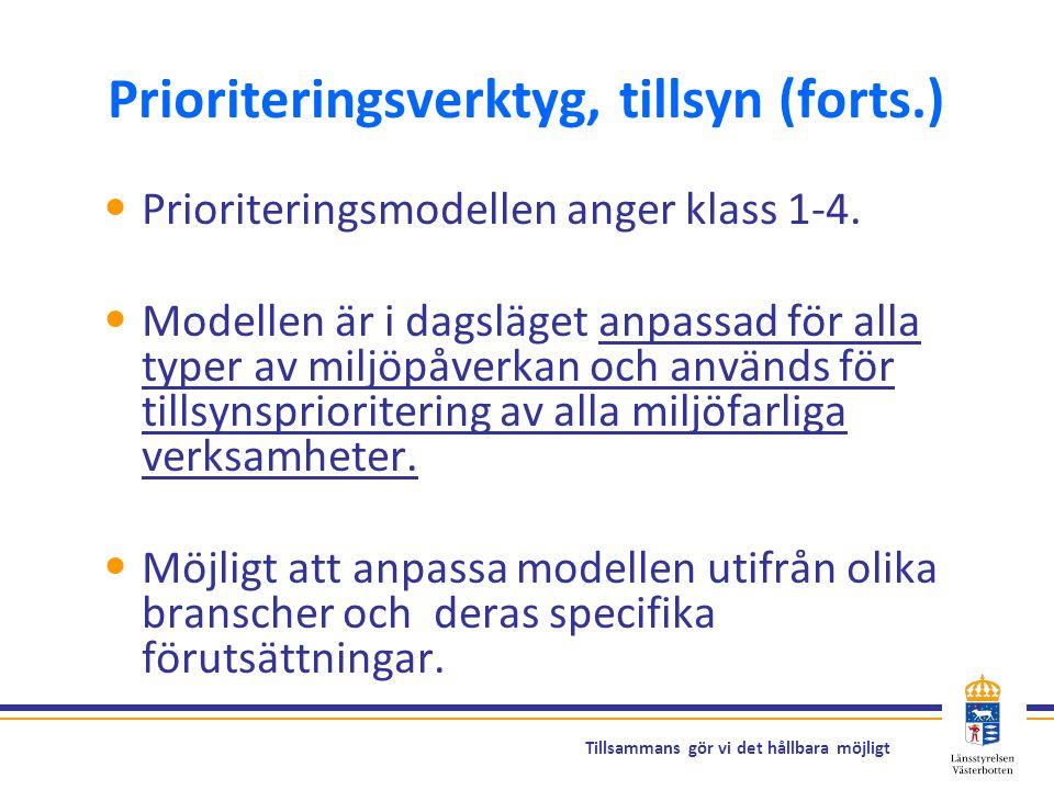 Tillsammans gör vi det hållbara möjligt Prioriteringsverktyg, tillsyn (forts.) Prioriteringsmodellen anger klass 1-4. Modellen är i dagsläget anpassad