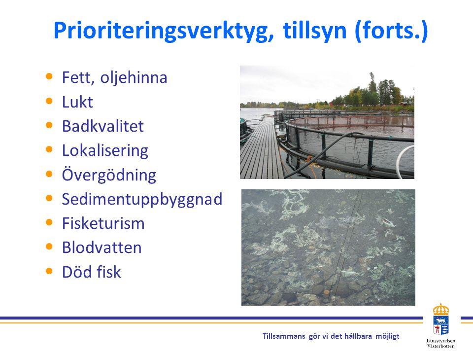 Tillsammans gör vi det hållbara möjligt Prioriteringsverktyg, tillsyn (forts.) Fett, oljehinna Lukt Badkvalitet Lokalisering Övergödning Sedimentuppby