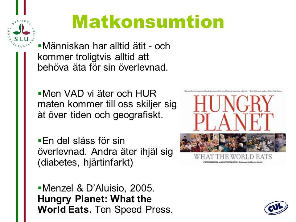 3 Matkonsumtion  Människan har alltid ätit - och kommer troligtvis alltid att behöva äta för sin överlevnad.  Men VAD vi äter och HUR maten kommer t