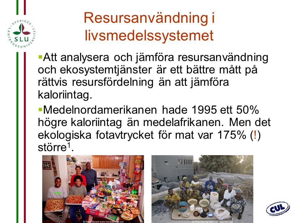 9 Resursanvändning i livsmedelssystemet  Att analysera och jämföra resursanvändning och ekosystemtjänster är ett bättre mått på rättvis resursfördeln
