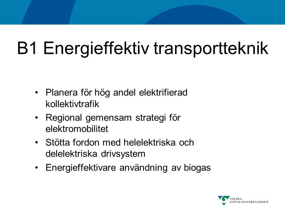 B1 Energieffektiv transportteknik Planera för hög andel elektrifierad kollektivtrafik Regional gemensam strategi för elektromobilitet Stötta fordon med helelektriska och delelektriska drivsystem Energieffektivare användning av biogas