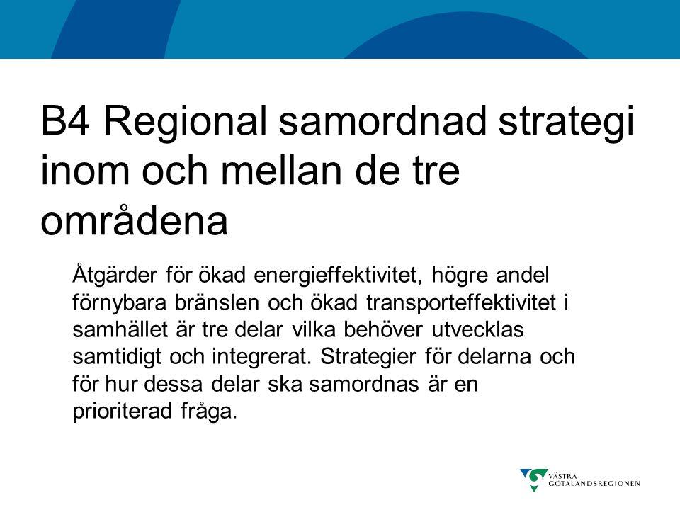 B4 Regional samordnad strategi inom och mellan de tre områdena Åtgärder för ökad energieffektivitet, högre andel förnybara bränslen och ökad transporteffektivitet i samhället är tre delar vilka behöver utvecklas samtidigt och integrerat.