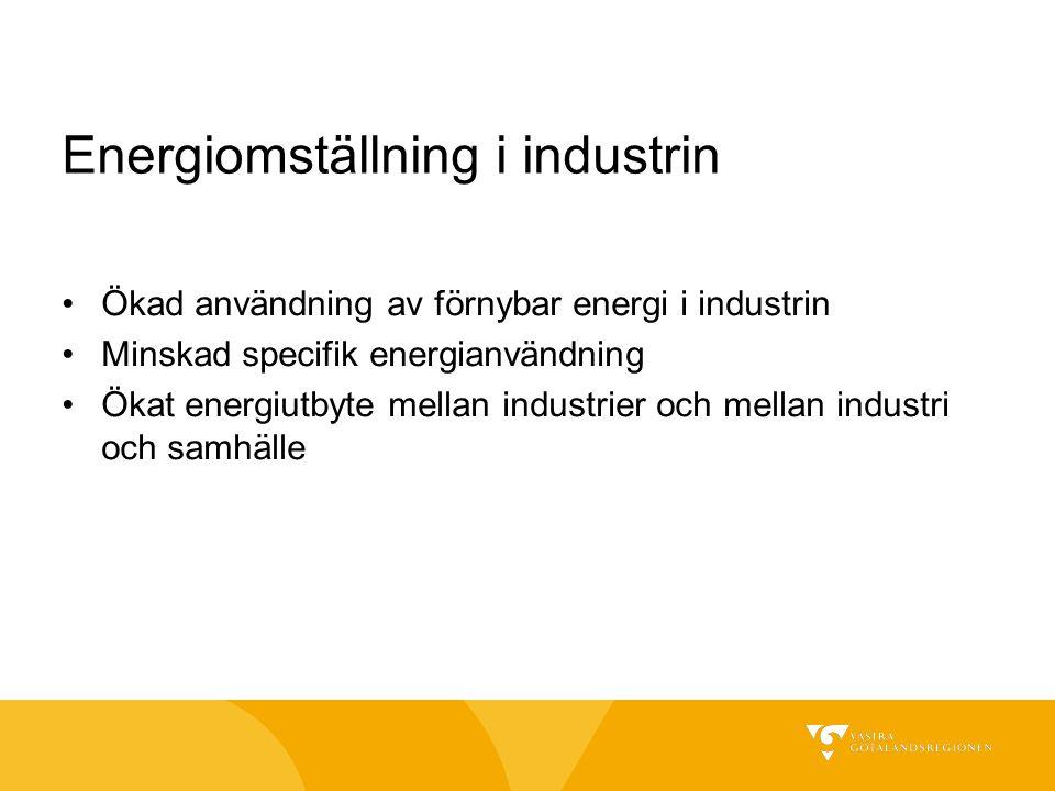 Energiomställning i industrin Ökad användning av förnybar energi i industrin Minskad specifik energianvändning Ökat energiutbyte mellan industrier och