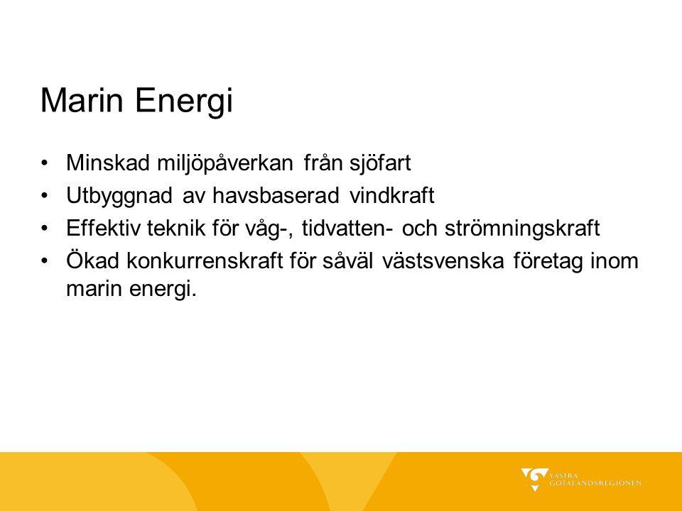 Marin Energi Minskad miljöpåverkan från sjöfart Utbyggnad av havsbaserad vindkraft Effektiv teknik för våg-, tidvatten- och strömningskraft Ökad konku
