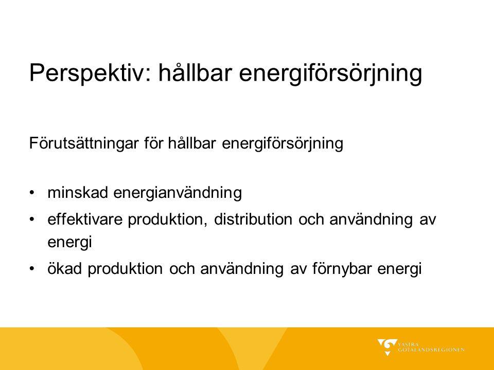 Perspektiv: hållbar energiförsörjning Förutsättningar för hållbar energiförsörjning minskad energianvändning effektivare produktion, distribution och