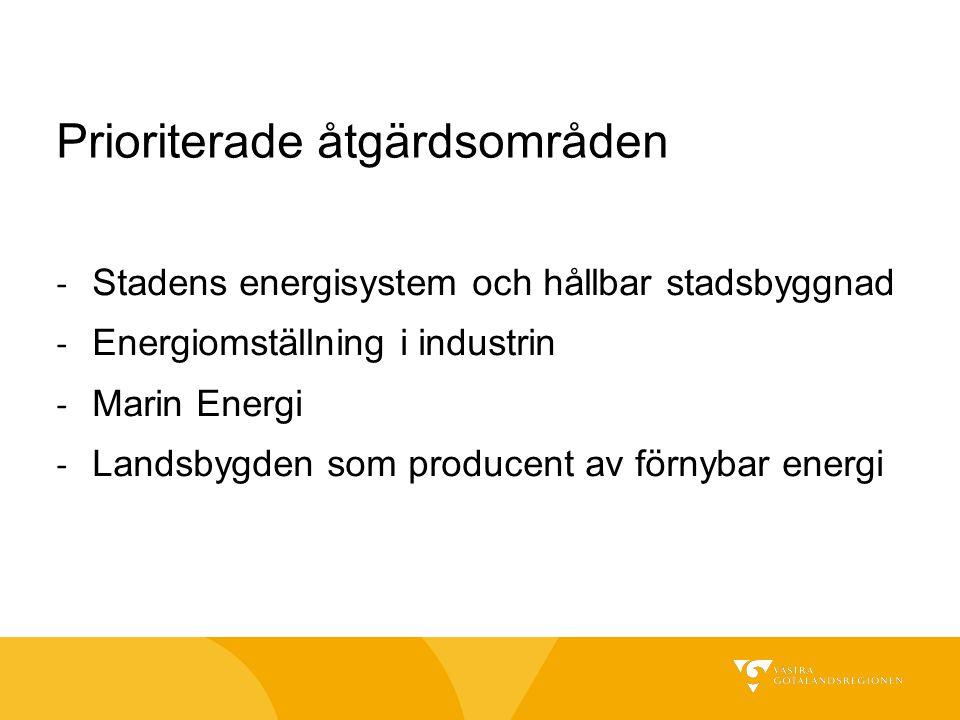 Prioriterade åtgärdsområden - Stadens energisystem och hållbar stadsbyggnad - Energiomställning i industrin - Marin Energi - Landsbygden som producent