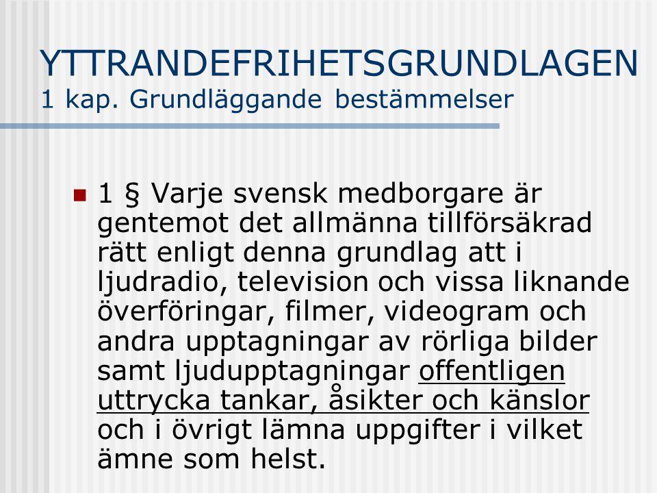 YTTRANDEFRIHETSGRUNDLAGEN 1 kap. Grundläggande bestämmelser 1 § Varje svensk medborgare är gentemot det allmänna tillförsäkrad rätt enligt denna grund