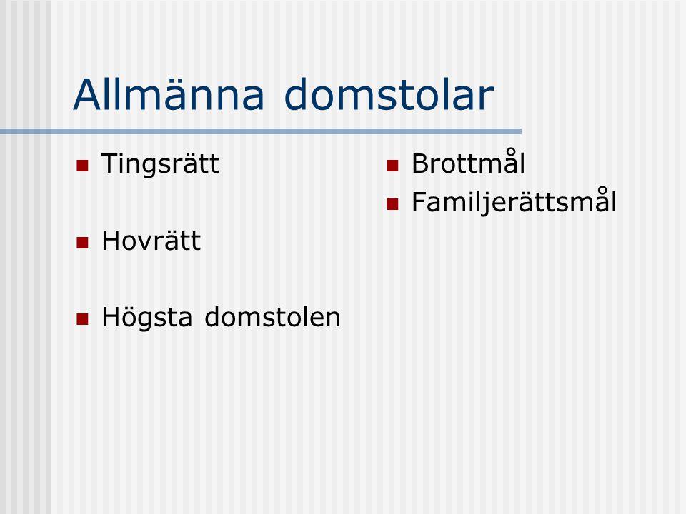 Allmänna domstolar Tingsrätt Hovrätt Högsta domstolen Brottmål Familjerättsmål
