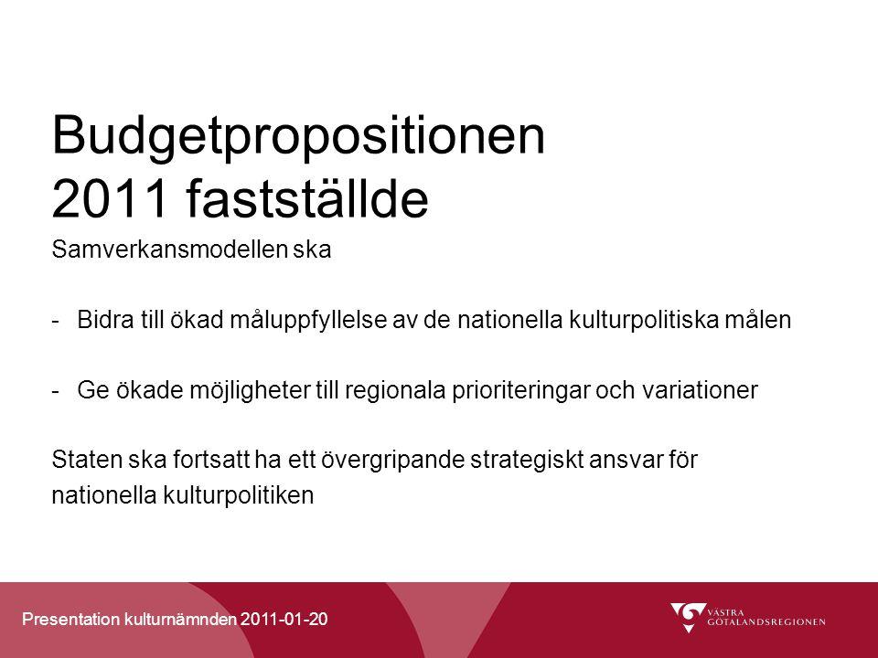Presentation kulturnämnden 2011-01-20 Budgetpropositionen 2011 fastställde Samverkansmodellen ska -Bidra till ökad måluppfyllelse av de nationella kulturpolitiska målen -Ge ökade möjligheter till regionala prioriteringar och variationer Staten ska fortsatt ha ett övergripande strategiskt ansvar för nationella kulturpolitiken