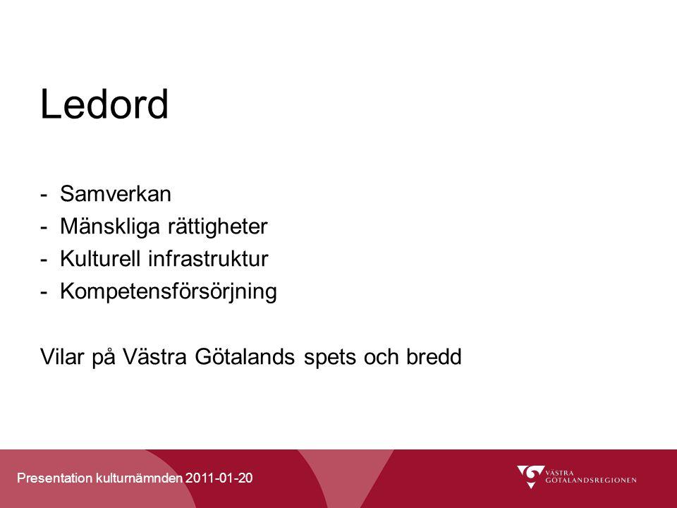 Presentation kulturnämnden 2011-01-20 Ledord -Samverkan -Mänskliga rättigheter -Kulturell infrastruktur -Kompetensförsörjning Vilar på Västra Götalands spets och bredd