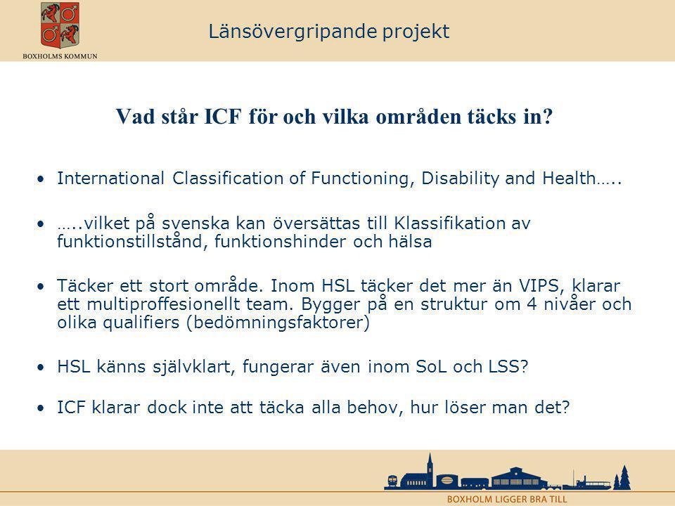 Vad står ICF för och vilka områden täcks in? International Classification of Functioning, Disability and Health….. …..vilket på svenska kan översättas