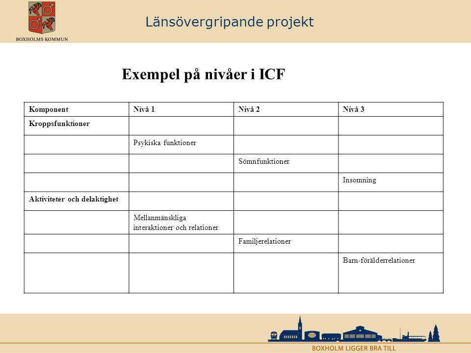Länsövergripande projekt Exempel på nivåer i ICF KomponentNivå 1Nivå 2Nivå 3 Kroppsfunktioner Psykiska funktioner Sömnfunktioner Insomning Aktiviteter