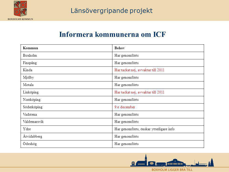 Länsövergripande projekt Kommunernas befintliga verksamhetssystem KommunBefintligt verksamhetsstöd BoxholmProcapita (ICF) FinspångProcapita KindaProcapita (ICF) MjölbyProcapita (driftstart 2011) MotalaViva (driftstart 2011) LinköpingByte pågår till Treserva, driftstart hösten -10 NorrköpingSofia Skall gå ut i upphandling, (IFO har just valt Viva) SöderköpingVård och omsorg Skall uppdatera till Treserva framöver… VadstenaViva (ICF) ValdemarsvikProcapita (ICF) YdreProcapita ÅtvidabbergProcapita (driftstart 2011) ÖdeshögProcapita (ICF)