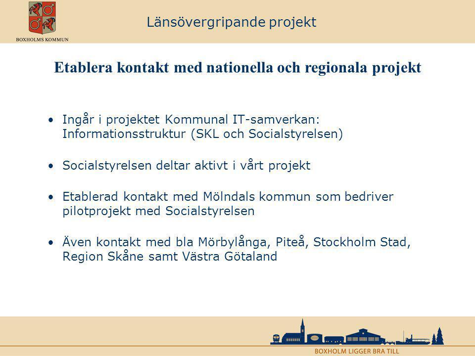 Länsövergripande projekt Ingår i projektet Kommunal IT-samverkan: Informationsstruktur (SKL och Socialstyrelsen) Socialstyrelsen deltar aktivt i vårt
